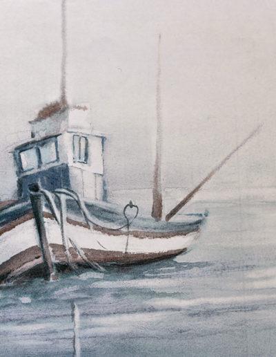 Barca nella nebbia, particolare