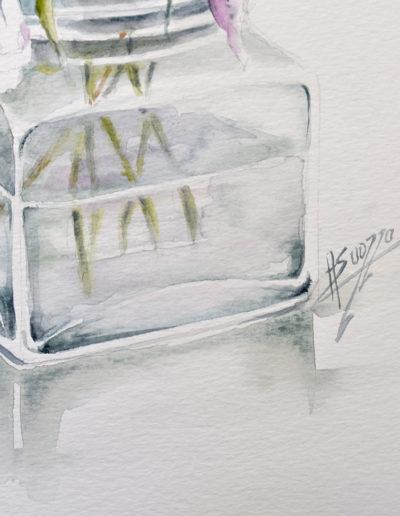 Fiori in vaso di vetro, dettaglio della firma