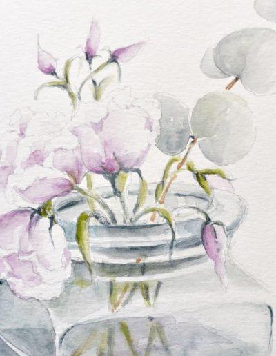 Fiori in vaso di vetro, particolare
