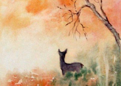 Paesaggio di caccia con cerbiatto