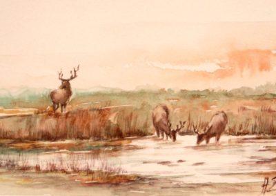 Paesaggio di caccia con cervi